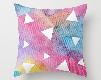 Geometric Triangles Watercolour throw Cushion Cover.