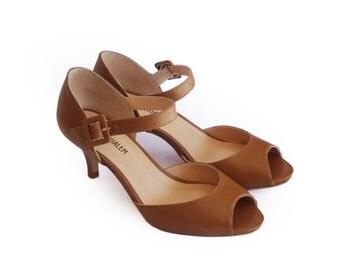 Sale, 50% off, Peep toe shoes, Brown pumps, Camel peep toe heels, Summer women heels shoes, Open toe heels, Leather shoes