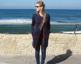 SALE, Blue boho coat, Autumn coat, Knee length coat, Light coat, Women's jacket, Christmas gift for her