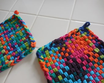Set of Two, Cotton, Handwoven, Potholders, Hot Pads, Kitchen, Variegated Colors,Blue,Greens,Turquoise,Purple,Orange, Pink, Gift Ideas
