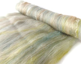 Spinning batts - Merino wool - Muga silk - Milk protein - Silk noil - 100g - 3.5oz - Duck egg - Taupe - SEA GLASS