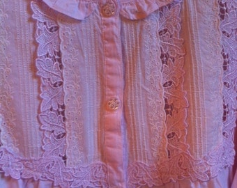Pink Pajama Set With Lace