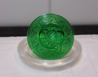 """Vintage Sandwich Glass Custard Underplate/Liner - Anchor Hocking """"Sandwich"""" Pattern - Emerald Green"""