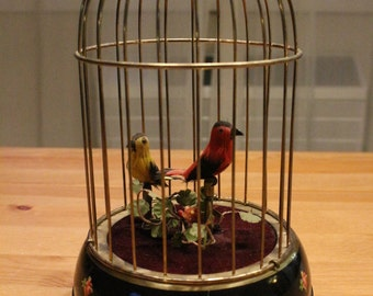 "Vintage European Wind-Up ""Automaton"": Two Singing Birds in Cage"