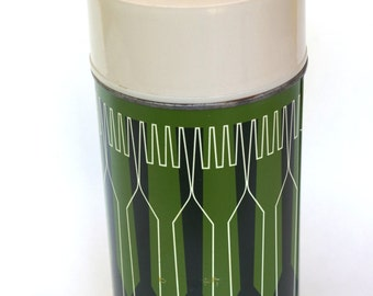 Vintage 1970s Green Wide Mouth Thermos Back to School