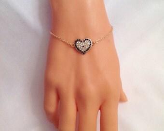 Gold Plated Heart Evil Eye Bracelet, Rhinestone Bead, Gold Bracelet, Cute Bracelet, Bead Evil Eye Handmade Bracelet, Love bracelet, Gifts
