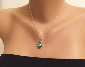 Beautiful Hamsa Hand Necklace,Evil Eye Gold Plated Hamsa,Fatma's Hand,Fashion Jewelery,Hand of Fatma,Boho Jewelry,Gold Plated Necklace