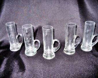 Vintage Clear Shot Glasses with Finger Handles, Etched Floral Design, Set of 5