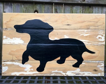 Dachshund Silhouette made from reclaimed wood