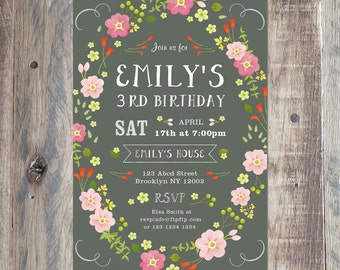 Custom Birthday Invitation - Girl's Birthday Invitation - Flower Wreath - Personalized With Your Party Details - Printable PDF or Jpeg