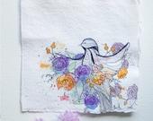 Bird Floral - Original Watercolour + Ink Pen Art Drawing - Square Size - (unframed)