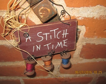 Stitch in Time Wooden Wall Decor