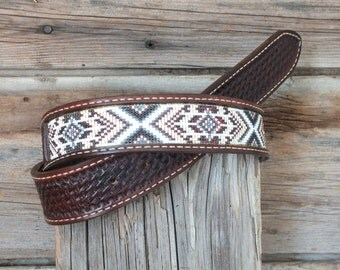 Leather Inlay Beaded Belt
