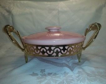 Candy Pink #ATOMIC CASSEROLE DISH with brass stand by Miramar California Pottery