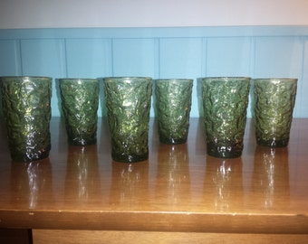 Set of 6 CRINKLE Glass JUICE #TUMBLERS mid century modern green glass hard to find