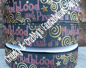 "7/8"" Harry Potter Inspired  - Mudblood   - US Designer Printed Ribbon - 1yd, 3yd or 5 yd  - gold & Red foil"