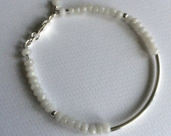 White semi precious agate and sterling silver stacking bracelet