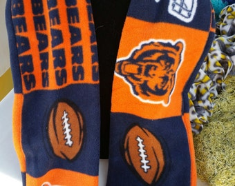 """Hand Crafted NFL Chicago Bears Fleece Scarf 58"""" long NEW"""