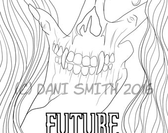 Future Ghost DIY Coloring Page Adult Coloring Halloween Skeleton Spooky Scary Skull