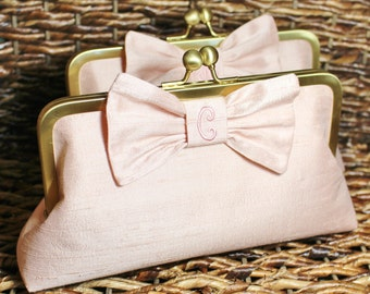Personalized Silk Dupioni Bow Clutch - Wedding Clutch - Bridesmaid Clutch -Blush, Champagne Gold, Ivory, Silver