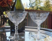 Fostoria Saucers Champagne Coupe Glasses Chintz Etched # 6026 Crystal Toasting Glasses Wedding  Pair Set of 2  | Mid Century Stemware