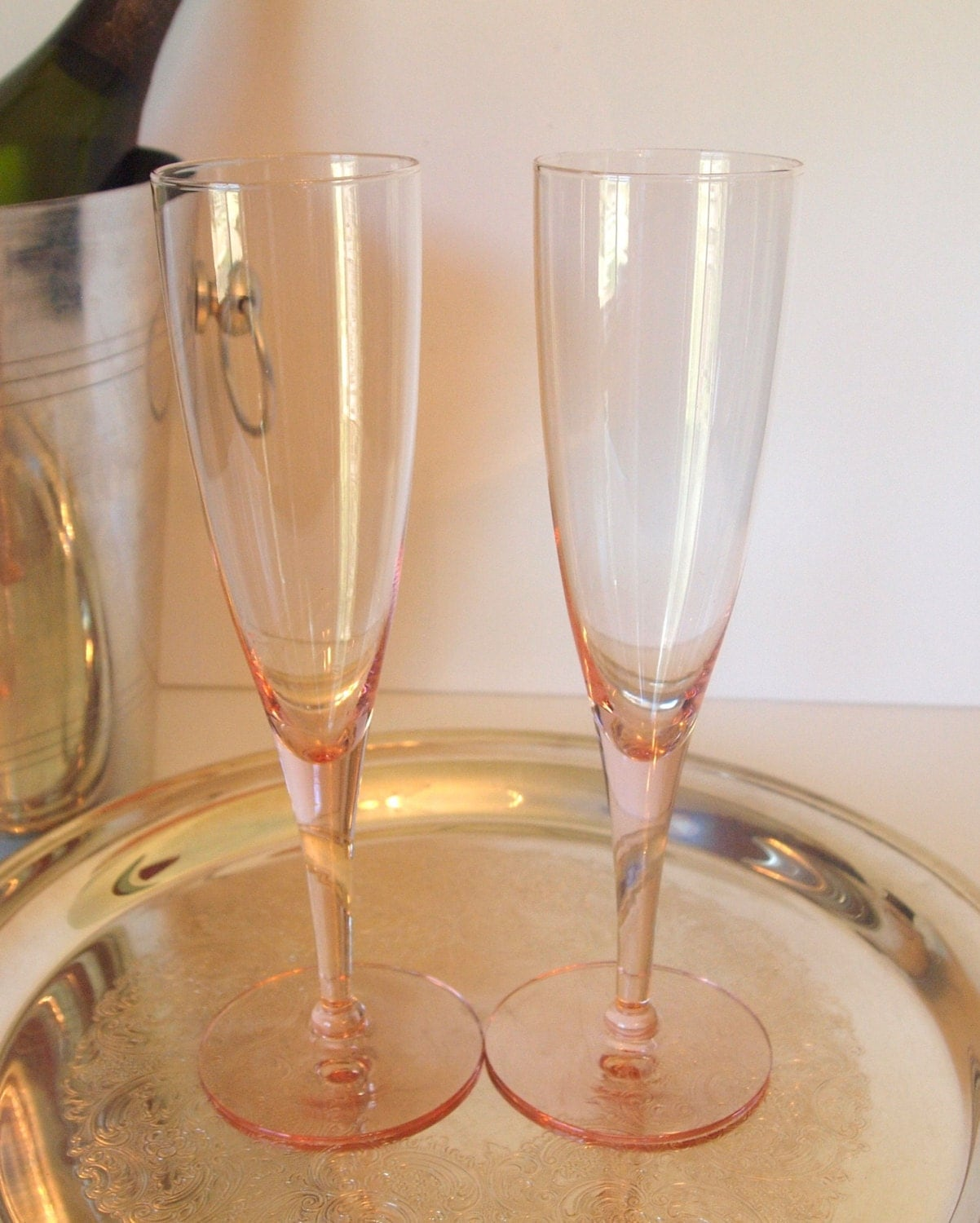 Pink Champagne Glasses Wedding Toasting Glasses By