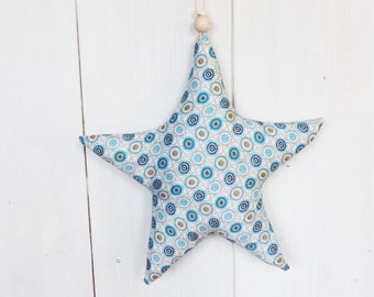 Star in LIBERTY blue hanging 28 cm