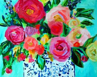 "FRAMED Fine Art Print, Colorful Still Life, Flowers in Blue and White Ginger Jar, GICLEE PRINT,  ""Jemma"" by Carolyn Shultz"