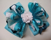 Large Hair Bow Teal Jade Blue GreenToddler to Big Girl Boutique