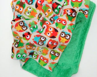 Minky Adult Blanket, Owl Minky Blanket, Adult Owl Couch Throw ,Owl Print Blanket, Dorm Room Bedding, Minky Blanket, Adult Throw 50 x 60 in