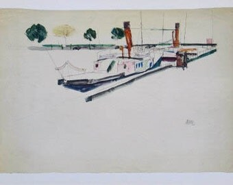 """Schiele Egon 30, Lithograph, """"Paddle Steamer at the Quay"""""""