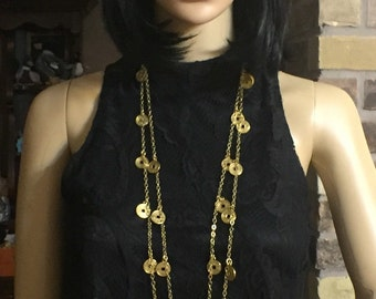 Super LONG GOLD COIN Necklace Six foot long necklace Gold Asian Coin Replica necklace Wrap necklace Coin Jewlery necklace Gold Coin Jewelry