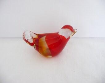 Red Glass Bird With a Hint of Gold, Blown Glass Bird