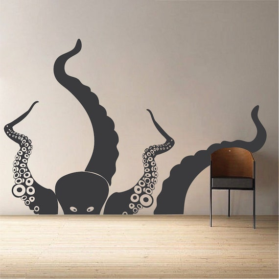 large octopus wall decal ocean life wall decor large wall. Black Bedroom Furniture Sets. Home Design Ideas
