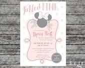 Tickled Pink Polka Dot Minnie Mouse Disney Baby Shower Invitation