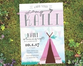 Little Girl Pastel Camp Themed Birthday Party Invitation