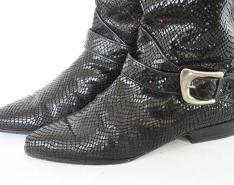 Via Spiga Boots / 1980's Leather Boots / Italian Leather Boots / Black Leather Boots / Black Glam Boots / Vintage Boots 8
