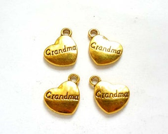 4 Gold Plated Grandma Heart Charms - 21-42-9