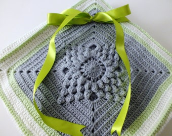 Crochet Baby Blanket//Home Decor Afghan//Throw Blanket//Grey Blanket//Cotton Throw//Cotton Baby Blanket// Summer Blanket//