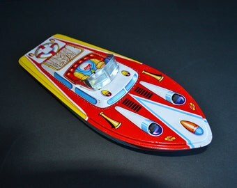 Vintage Toy Tin Speedboat | Made in Japan | Toy Boat | Tin Toys | Colorful Tin Litho Boat