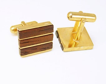 Vintage Teak Wood Cufflinks Square Inlay Wedding Fathers Day Tuxedo gold cuff links