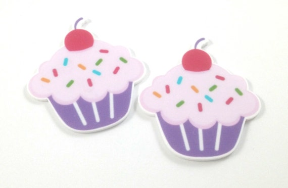 Laser Cut Supplies-2 Pieces.47mm Sprinkle Cupcake Charms-Laser Cut Acrylic-Jewelry Supplies-Little Laser Lab.Online Laser Cutting Australia