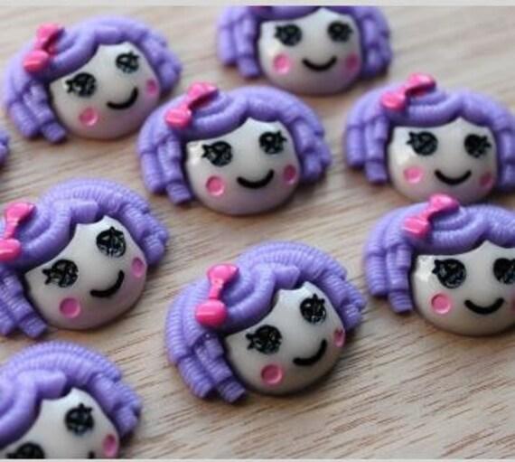 2 Pieces. Resin Flatback Cabochons 30mm Purple Rag Doll. Craft Supplies. DIY Supplies