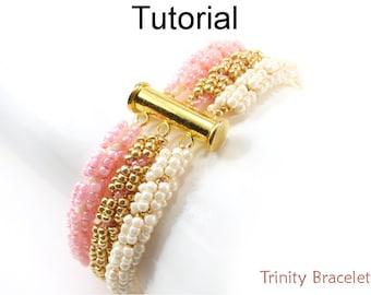 Beading Tutorial Pattern - Beaded 3-Strand Multi-Rope Bracelet - Spiral Stitch - Simple Bead Patterns - Trinity Bracelet #18765