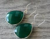 VALENTINE Sale Medium Green Onyx Dangle Sterling Earrings, Emerald Green Bezel Gemstone, 925 Sterling Silver Drop Earrings, Large Green Tear