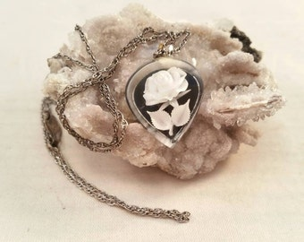 Vintage lucite intaglio flower cameo with sterling chain