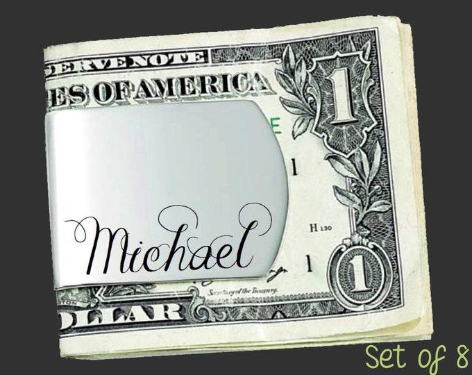 Set of 8 Custom Money Clips | Groomsmen Gifts | Groomsmen Gift Ideas | Gift for Men | Custom Money Clip | Korena Loves
