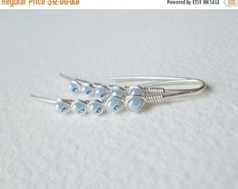 ON SALE Modern Earrings Simply Elegant Wire Wrapped Glass Rocailles Sky Blue