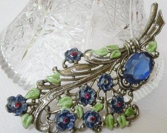 1940s Blue Enamel Flower and Stone Brooch