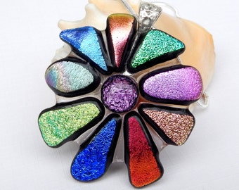 Dichroic Flower Pendant - Fused Glass Jewelry - Multicolored Pendant - Glass Necklace - Glass Jewelry